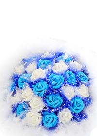 蓝色恋人仿真花束